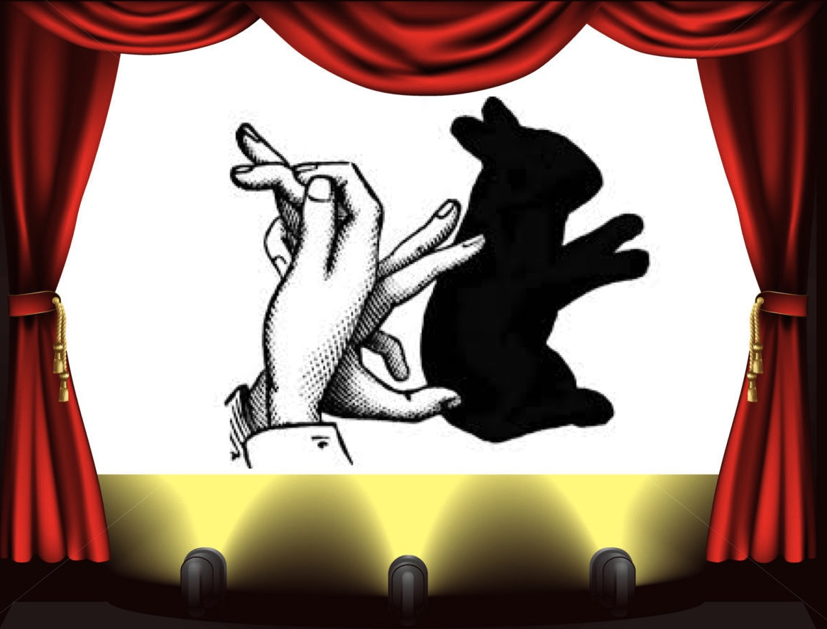 Stage with bunny shadow puppet, hands
